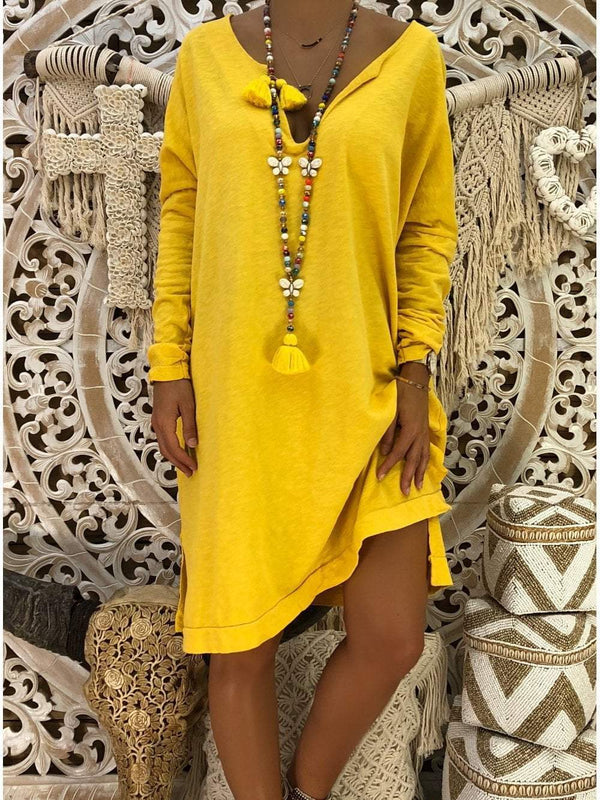 Venuslike.com Mini Dress Yellow / S Sexy Loose V-Neck Long Sleeve Vacation Dress
