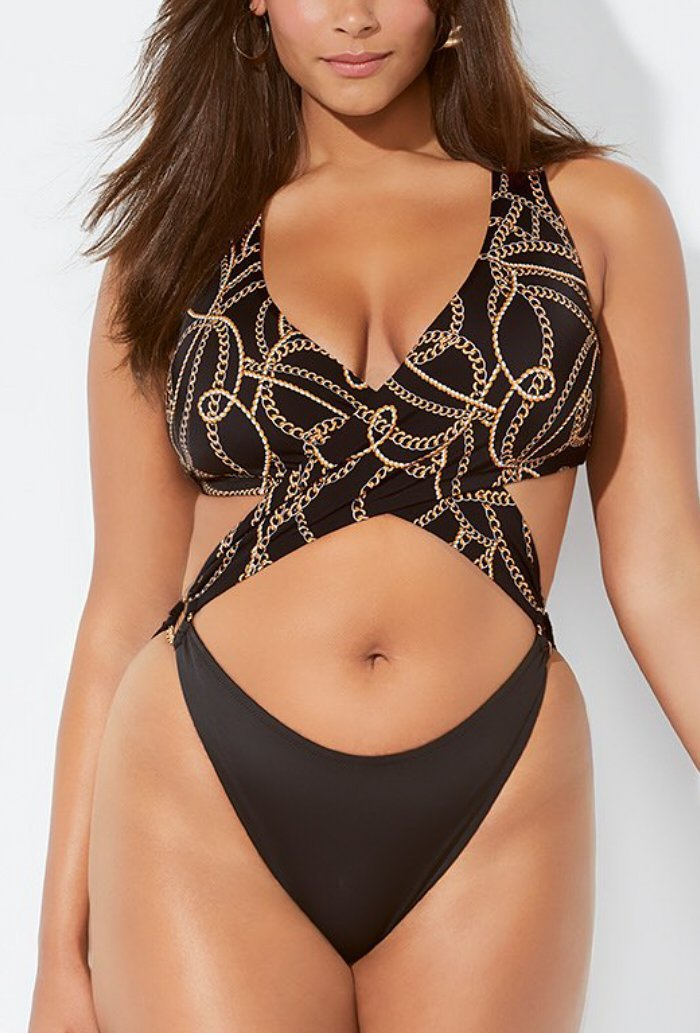 BLACK PRINT NOTORIOUS MONOKINI SWIMSUIT