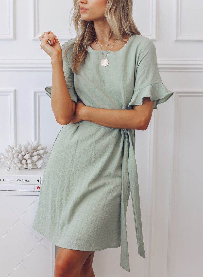 Frill Sleeve Waist Tie Dress