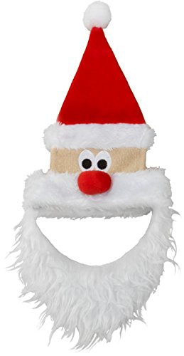 Friends Forever Red Santa Hat with Face Beard Costume Dog Wig Festival Party Fancy Hair Cat Clothes Lion Mane