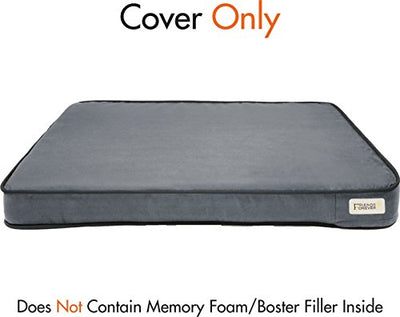 Friends Forever Memory Foam Large Dog Bed, Supreme Edition Cover Only, Pewter