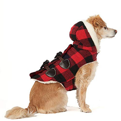 Friends Forever Red Plaid Toggle Button Coat XS Extra Small