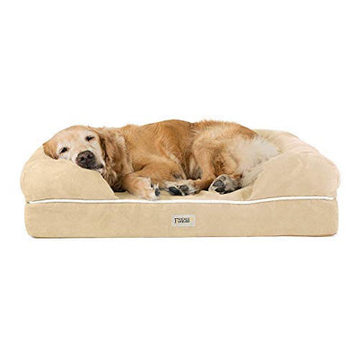 "Friends Forever Orthopedic Dog Bed Lounge Sofa Removable Cover 100% Suede 4"" Mattress Memory-Foam Premium Prestige Edition Vanilla"