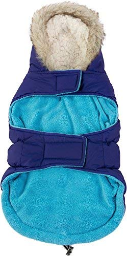 Friends Forever Navy Blue Quilted Vest Cozy Waterproof Windproof Winter Jacket Coat Sweater Hoodie Furry Collar Citron Harness Pet Puppy Dog Christmas Clothes Costume Outwear Coat Apparel Cat (Small)