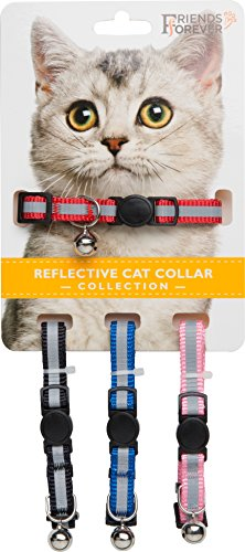 Friends Forever Breakaway Cat Collar - 4 Pack Fancy Reflective Cat Collars Breakaway with Bell - Pink/Red / Black/Blue Adjustable Nylon