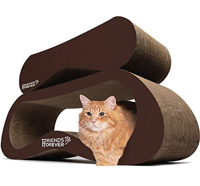 Friends Forever Jumbo Cat Scratcher Cardboard Lounger, 2 in 1 Cat Scratching Post - Corrugated Scratch Lounge Classic Urban Design