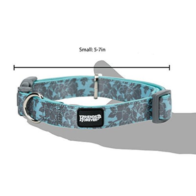 Friends Forever Floral Dog Collar for Dogs, Fashion Woven Curves Pattern Water-Paint Cute Puppy Collar