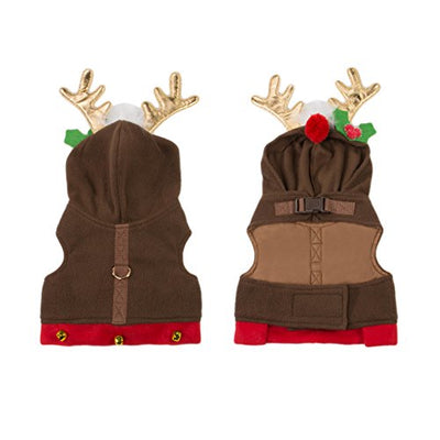 Friends Forever Reindeer Hoodie Cozy Waterproof Windproof Vest Winter Jacket Coat Sweater Furry Collar Red Harness Pet Puppy Dog Christmas Clothes Costume Outwear Apparel Cat
