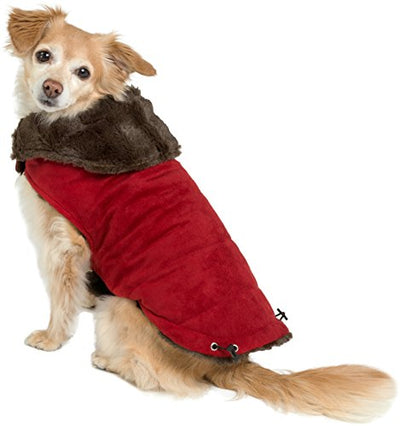 Furry Brown Dog Jacket Coat Vest Cozy Winter Sweater Pet Cat Puppy Holiday Outwear Coat Apparel
