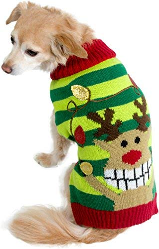 Friends Forever Reindeer Cozy Knit Winter Ugly Sweater Furry Stripe Pet Dog Cat Christmas Clothes Costume Apparel