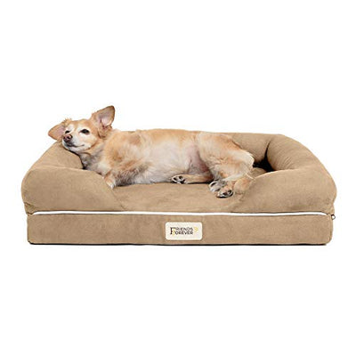"Friends Forever Orthopedic Dog Bed Lounge Sofa Removable Cover 100% Suede 4"" Mattress Memory-Foam Premium Prestige Edition Khaki Beige"