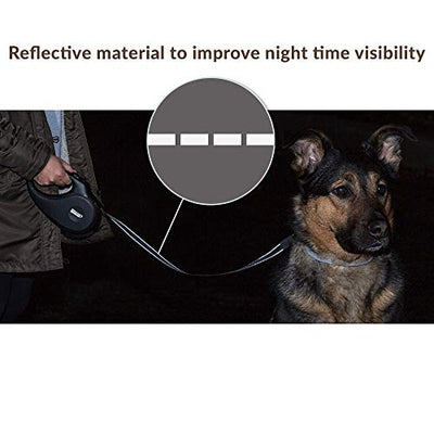Friends Forever Retractable Dog Leash - Reflective Nylon Retractable Leash for Dogs with Flashlight and Waste Bag Dispenser