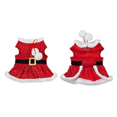 Friends Forever Santa Coat Cozy Sequin Vest Winter Jacket Sweater Hoodie Furry Collar Red Harness Pet Puppy Dog Christmas Clothes Costume Outwear Apparel Cat