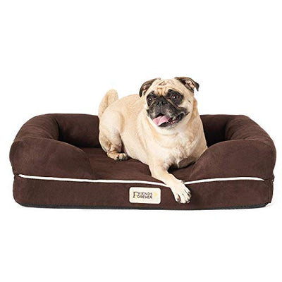 "Friends Forever Orthopedic Dog Bed Lounge Sofa Removable Cover 100% Suede 4"" Mattress Memory-Foam Premium Prestige Edition Cocoa"