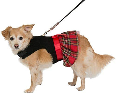 Friends Forever Plaid Dress Cozy Vest Winter Jacket Coat Sweater Hoodie Furry Collar Black Harness Pet Puppy Dog Christmas Clothes Costume Outwear Coat Apparel Cat