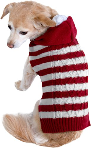 Friends Forever Cozy Knit Ugly Sweater Furry Stripe Pet Dog Cat Christmas Holiday Clothes Costume Apparel Small