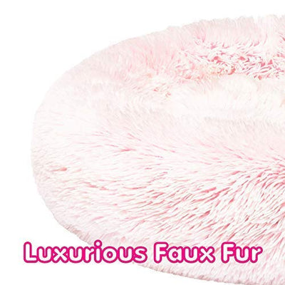 Friends Forever Premium Donut Bolster Orthopedic Dog Bed for Puppy to Medium Dogs & Cat, Pink