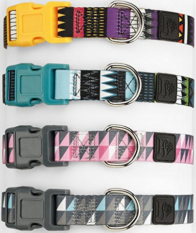 Friends Forever Dog Collar Pattern Design Nylon Adjustable (Large, Tribal Orange)