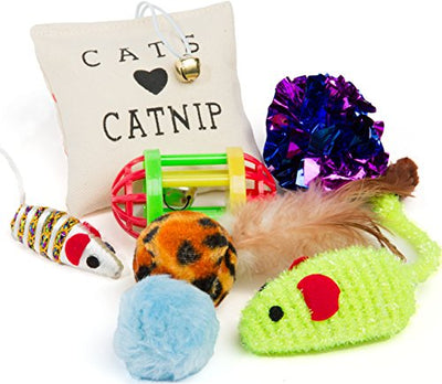 Friends Forever Kitten Toys Variety Pack - Cat Toys Set Including Cat Fishing Pole, Catnip Pillow & Lot More, Cute Kitty Toys for Cats 20 Pieces