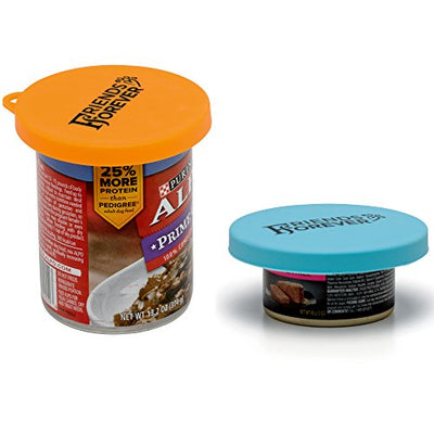 2 Pack Universal Pet Food Can Cover, Reusable Cat Dog Food Can Lids for 3, 5, 12 Oz Cans, BPA Free - FDA Approved Silicone, Blue & Yellow