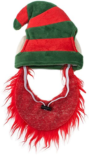 Friends Forever Elf Hat with Beard Red Costume for Pet Dog Wig Festival Party Fancy Hair Cat Clothes Lion Mane