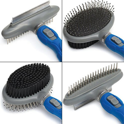 Friends Forever Dual Side 2 in 1 Pet Grooming Combo - Deshedding, Pin Bristle Dog Brush + Undercoat Rake & Comb Dogs Cat, Pet Supplies Tool Kit