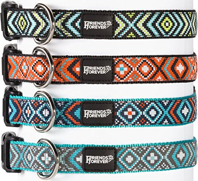 Friends Forever Dog Collar for Dogs - Fashion Woven Square Pattern Cute Puppy Collar, Turquoise Medium 14-20""