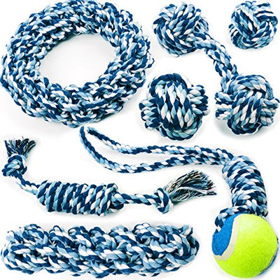 Chewers Play Dog Rope Toy For Medium Dogs & Puppy, Teething, Tug War - Tough Dog Toys Set 7-Piece Assortment, Blue