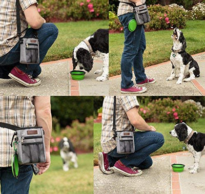Friends Forever Dog Treat Pouch Training Bag, Rip-Stop Tough Nylon Poop Waste Bag Holder Dispenser for Pet