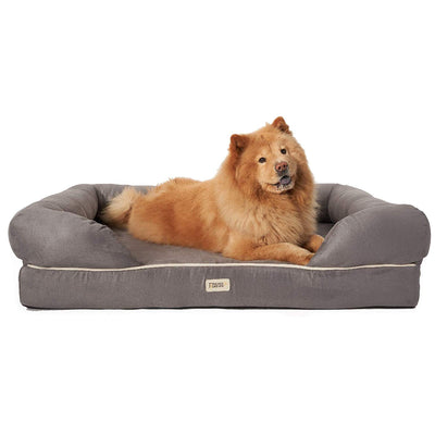 "Friends Forever Orthopedic Dog Bed Lounge Sofa Removable Cover 100% Suede 4"" Mattress Memory-Foam Premium Prestige Edition Pewter Grey"