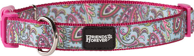 Friends Forever Paisley Dog Collar for Dogs, Fashion Print Garden Pattern, Cute Puppy Collar