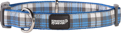 Friends Forever Plaid Dog Collar for Dogs, Fashion Woven Checkers Pattern, Cute Puppy Collar
