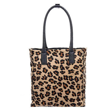 Leopard Print Hair On Hide Leather Day Tote - Brix and Bailey® - Contemporary Bag, Watch and Accessory Brand
