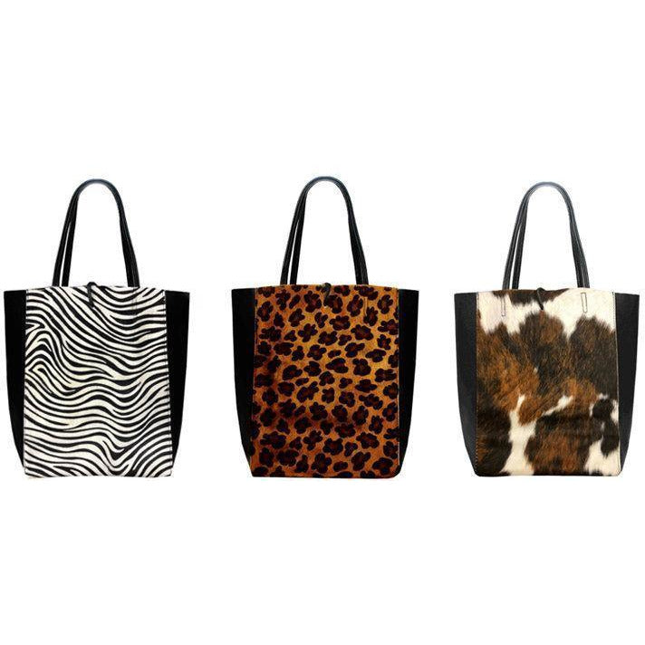 Brown Cow Print Hair On Leather Tote Shopper Bag - Brix and Bailey® - Contemporary Bag and Accessory Brand