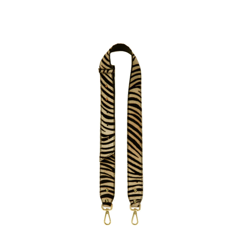Zebra Print Hair On Hide Bag Strap Black & Camel - Brix and Bailey® - Contemporary Bag, Watch and Accessory Brand