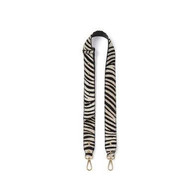 Zebra Print Hair On Hide Bag Strap Black and Ivory - Brix and Bailey® - Contemporary Bag, Watch and Accessory Brand