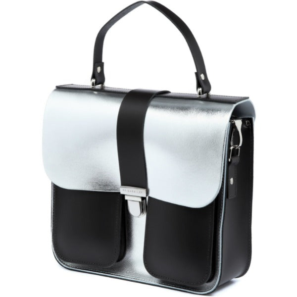 Top Handle Satchel Structured Metallic Silver Leather Bag