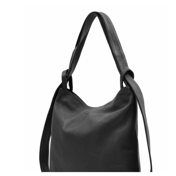 Black Pebbled Leather Tote Backpack - Brix and Bailey® - Contemporary Bag, Watch and Accessory Brand