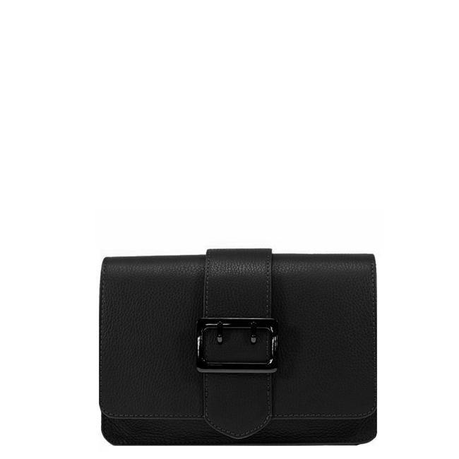 Buckle Front Leather Bag Black