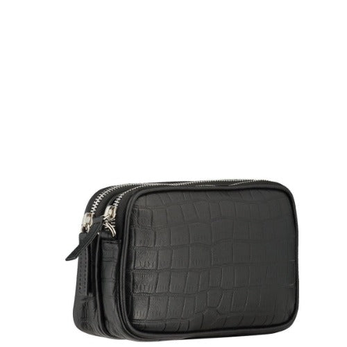Brix + Bailey Black Croc Cross Body Bag