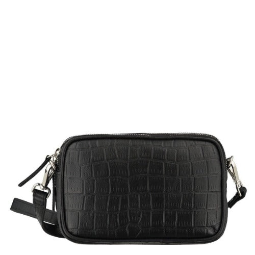 Brix + Bailey Black Croc Mini Cross Body Bag