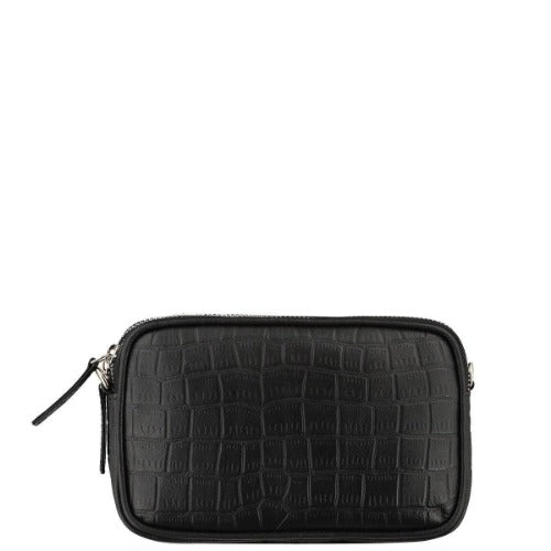 Black Croc Cross Body Bag Brix + Bailey