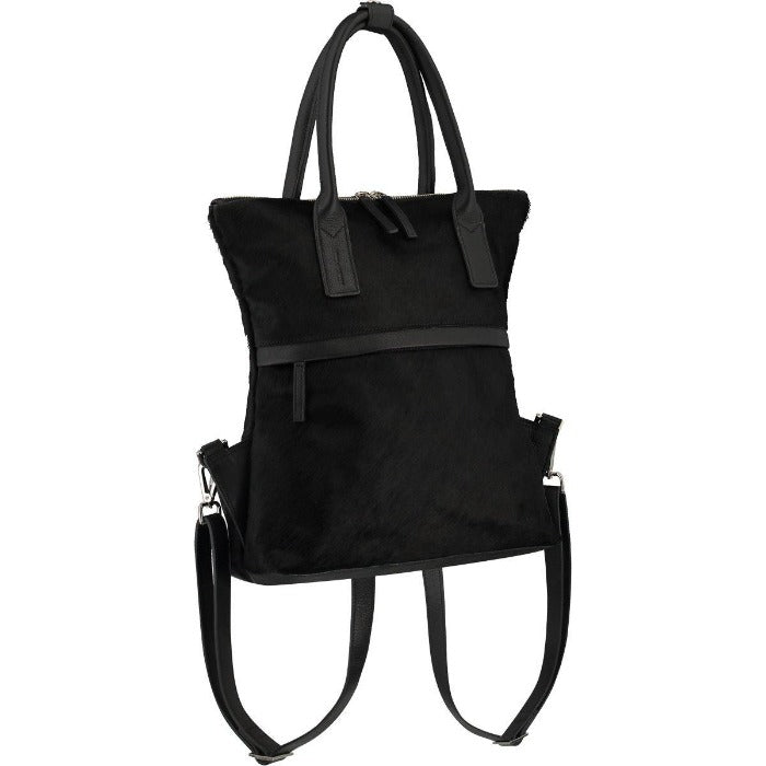 Hair On Hide Leather Backpack Black  Brix Bailey