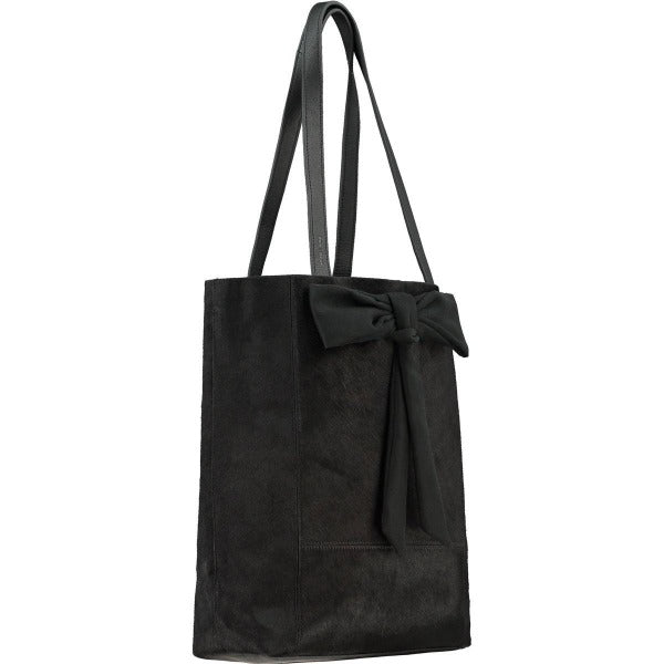 Black Hair On Hide Bow Leather Tote - Brix and Bailey® - Contemporary Bag, Watch and Accessory Brand