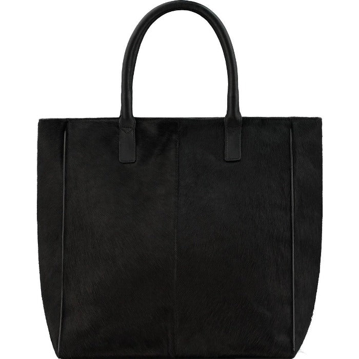 Brix + Bailey Black Hair On Hide Leather Day Tote