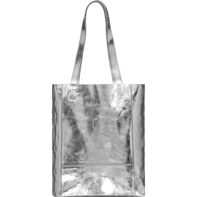 Silver Metallic Tote Shopper Leather Tote Bag Bow Detail Brix and Bailey