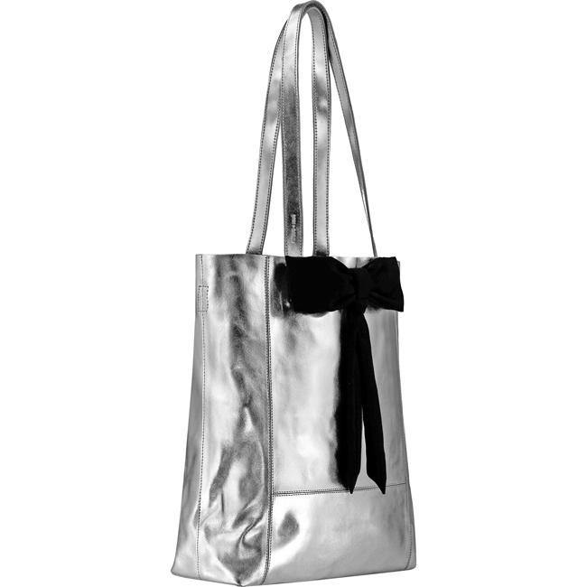 Silver Metallic Leather Tote Bag Bow Detail Brix and Bailey