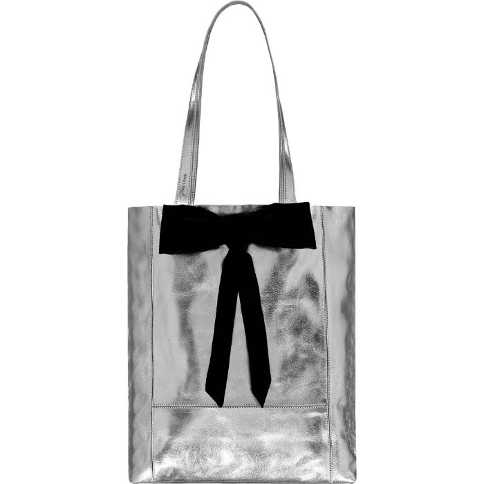 Bow Detail Metallic Leather Tote Bag Brix and Bailey