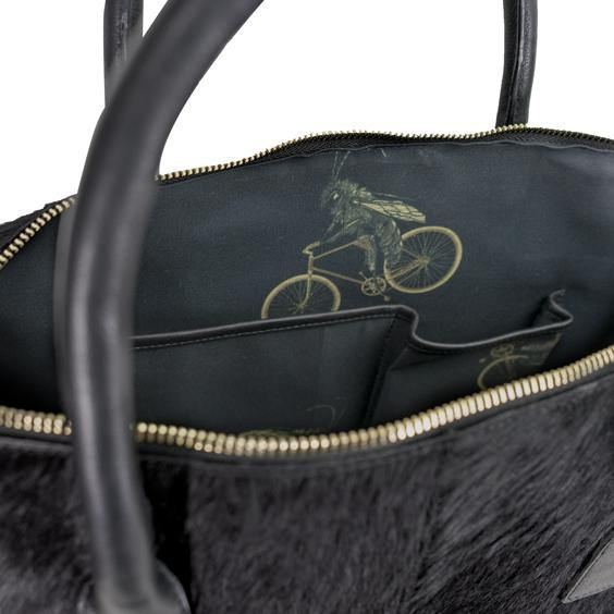 Black Leather Hair On Hide Large Bowling Bag
