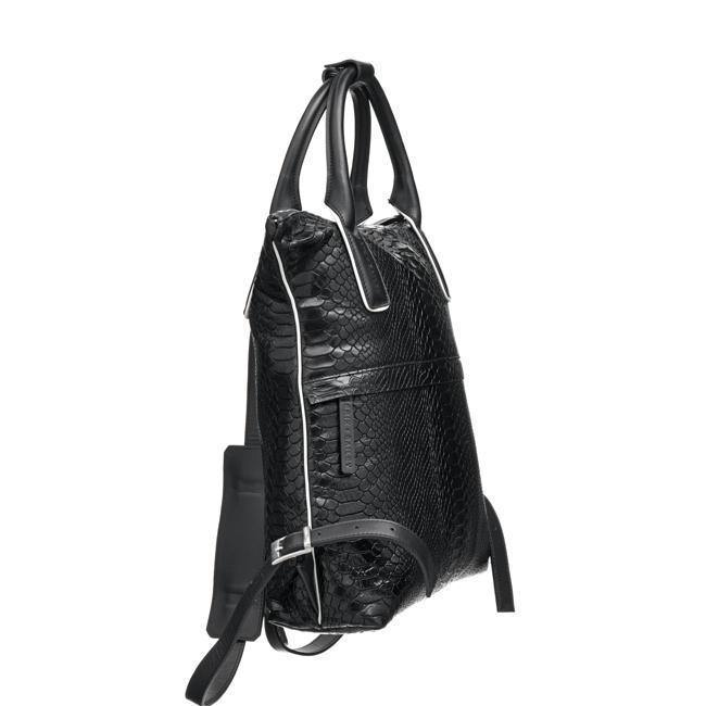 Black Python Print Leather Backpack - Brix and Bailey® - Contemporary Bag, Watch and Accessory Brand